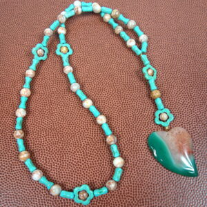 Turquoise Tan Agate Heart Prayer Bead Necklace