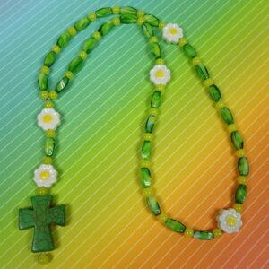 Green Yellow Daisies Prayer Bead Necklace