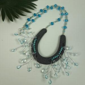 Blue Horseshoe Necklace